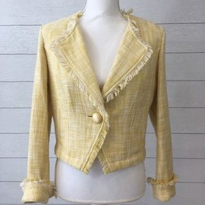 CAbi 339 yellow blazer fringe tweed jacket blouse